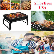 Portable Foldable Charcoal BBQ Barbecue Grill Outdoor Stove Smoker Cooker - £39.16 GBP