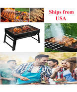 Portable Foldable Charcoal BBQ Barbecue Grill Outdoor Stove Smoker Cooker - £38.66 GBP
