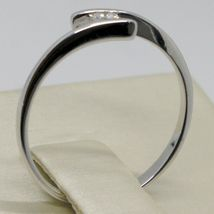 White Gold Ring 750 18K, Solitaire with Diamond Carat 0.08, Rail, Italy image 4