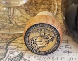 Wine Stopper, U.S. Marine Corps Handmade Wood Bottle Stopper, Military Gift - $8.86