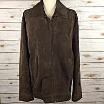 Banana Republic Suede Leather Jacket Chocolate Brown Heavy Barn Coat Lined Large - $83.27