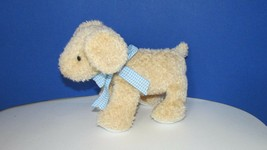 Carters plush yellow golden lab puppy dog rattle baby toy tan blue bow s... - $10.68