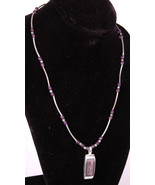 "KC Bead Necklace w Pendant-16.5""-Jewelry-Ring Clasp-Purple-Stamped ""KC""-... - $37.39"
