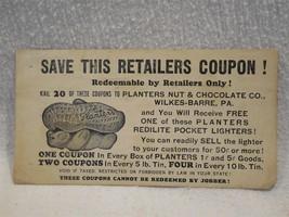 Vintage 1930's Planters Peanut Mr Peanut Figural Lighter Paper Coupon - ... - $17.95