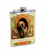 Vintage Cigar Box Poster D6 Flask 8oz Stainless Steel Hip Drinking Whiskey - $13.81