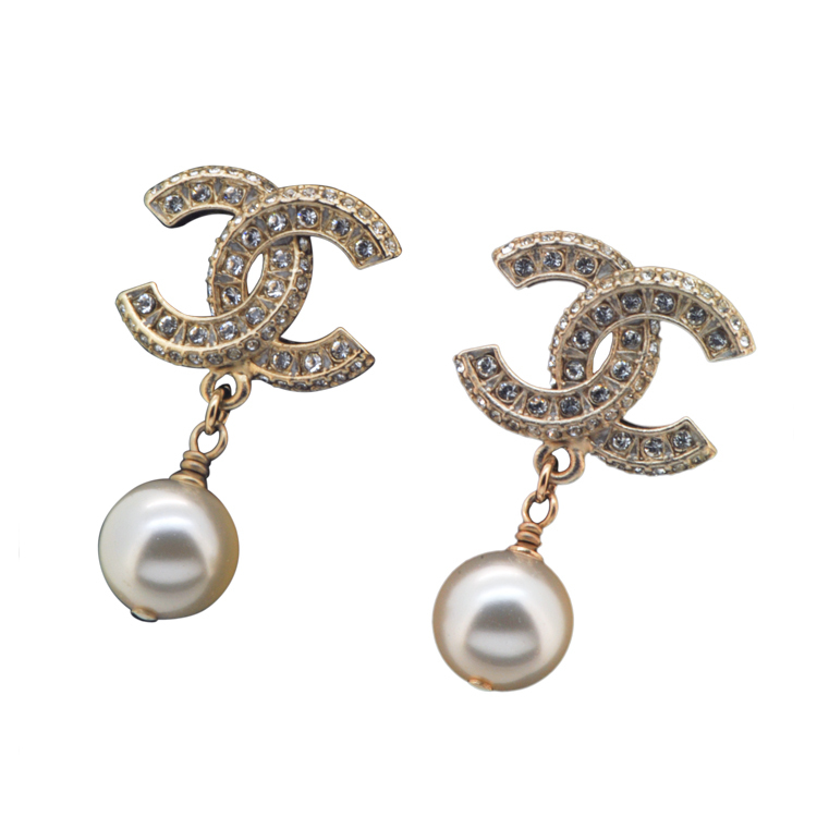 CHANEL GOLD XL LARGE CRYSTAL CC PEARL DROP EARRINGS GOLD AUTHENTIC