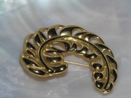 Estate MONET Signed Curved Goldtone Feather Pin Brooch – marked on backside – - $8.59