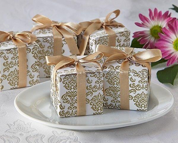 312 Gold Damask Mint Candy Anniversary Bridal Wedding Favor Boxes w/Satin Ribbon - $93.10