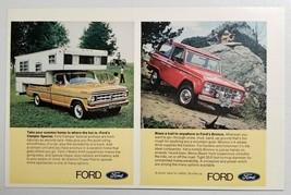 1971 Print Ad Ford Bronco, Pickup Truck Camper, Ranchero, Club Wagon Van - $11.56