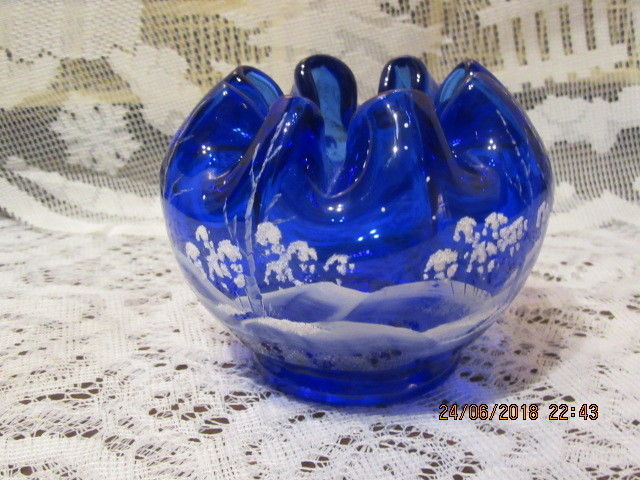 Primary image for FENTON ART GLASS COBALT BLUE ROSE BOWL WITH HP WINTER SCENE B. HUGGINS