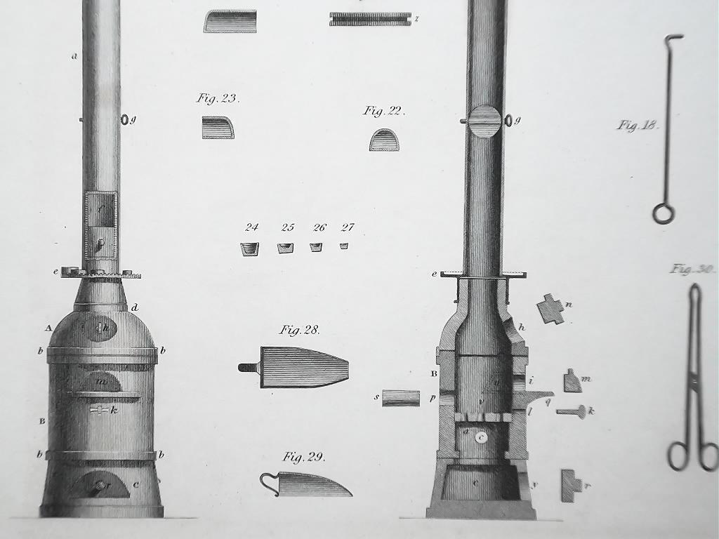 ASSAYING Furnaces Tools - c 1835 Fine Quality Print
