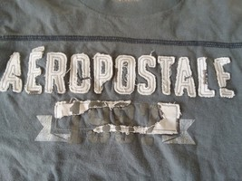 Gray White Distressed Aeropostale T-Shirt Mens X-Large Black - $9.64