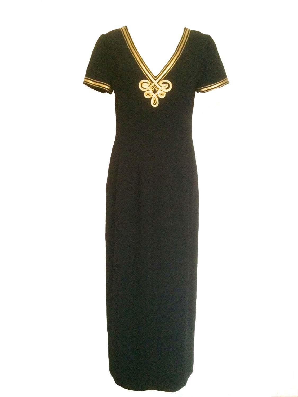 80s MAGGY LONDON Black NAUTICAL Sailor Design Gold Applique Trim Embroidery Dres