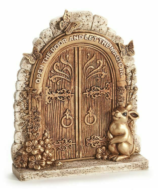 "9.25"" Gold Fairy Garden Door Design Figurne w Rabbit and Butterfly Accents"