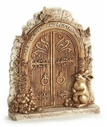 "9.25"" Gold Fairy Garden Door Design Figurne w Rabbit and Butterfly Accents  - $29.69"
