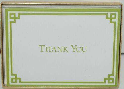 Caspari 85605 48 Rive Gauche Green White 6 Thank You Notes and Envelopes Blank
