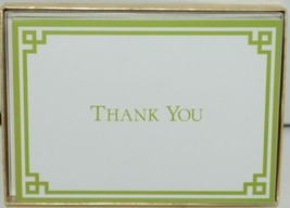 Caspari 85605 48 Rive Gauche Green White 6 Thank You Notes and Envelopes Blank image 1