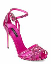 DOLCE & GABBANA Satin Sandal Strap Pump Crystal Pink Fuchsia US7 EU37 KE... - $481.14