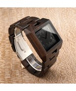 Men Watches Full with Wood Quartz Rectangle Watch Wooden Band Wristwatch... - $52.00