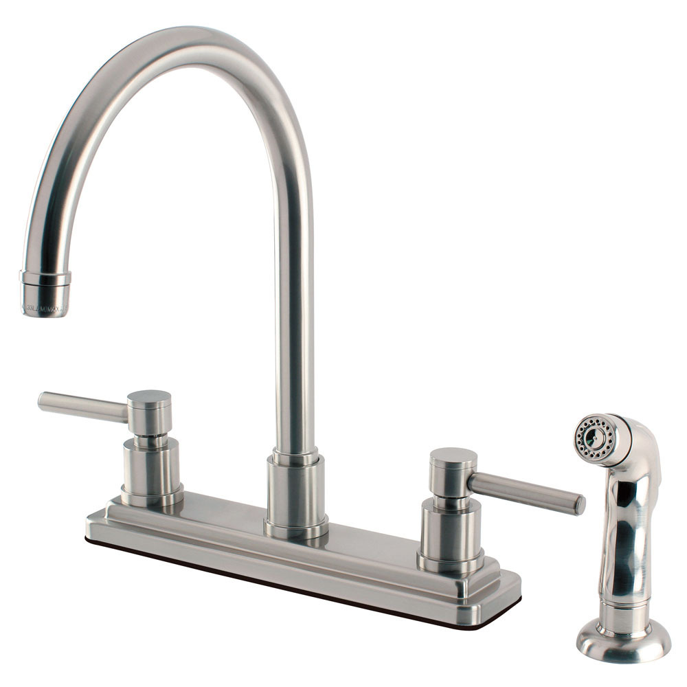 "Primary image for 8"" Centerset Two-Handle Kitchen Faucet with Matching Side Sprayer, Satin Nickel"