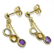 18K YELLOW GOLD PENDANT EARRINGS, BLUE TOPAZ, AMETHYST, CITRINE, THREE WIRES   image 1