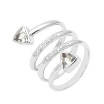 Unique Design Women Ring Cubic Zirconia Gemstone 925 Sterling Silver Rin... - €15,73 EUR
