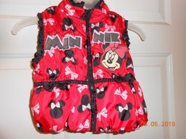 Cute Disney Minnie Mouse nylon glitter sleeveless puffy vest size 12 months nwot - $9.89