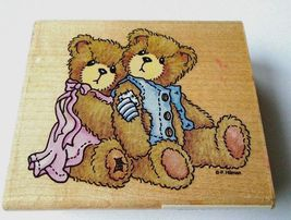 STAMPENDOUS 1996 Cherished Teddies Seth Sarabeth mounted rubber stamp-Gently Use - $4.99