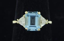 """Custom 18K Yellow Gold """"Natural"""" Aquamarine & Trillion Diamond Ring (Siz... - $1,650.00"""
