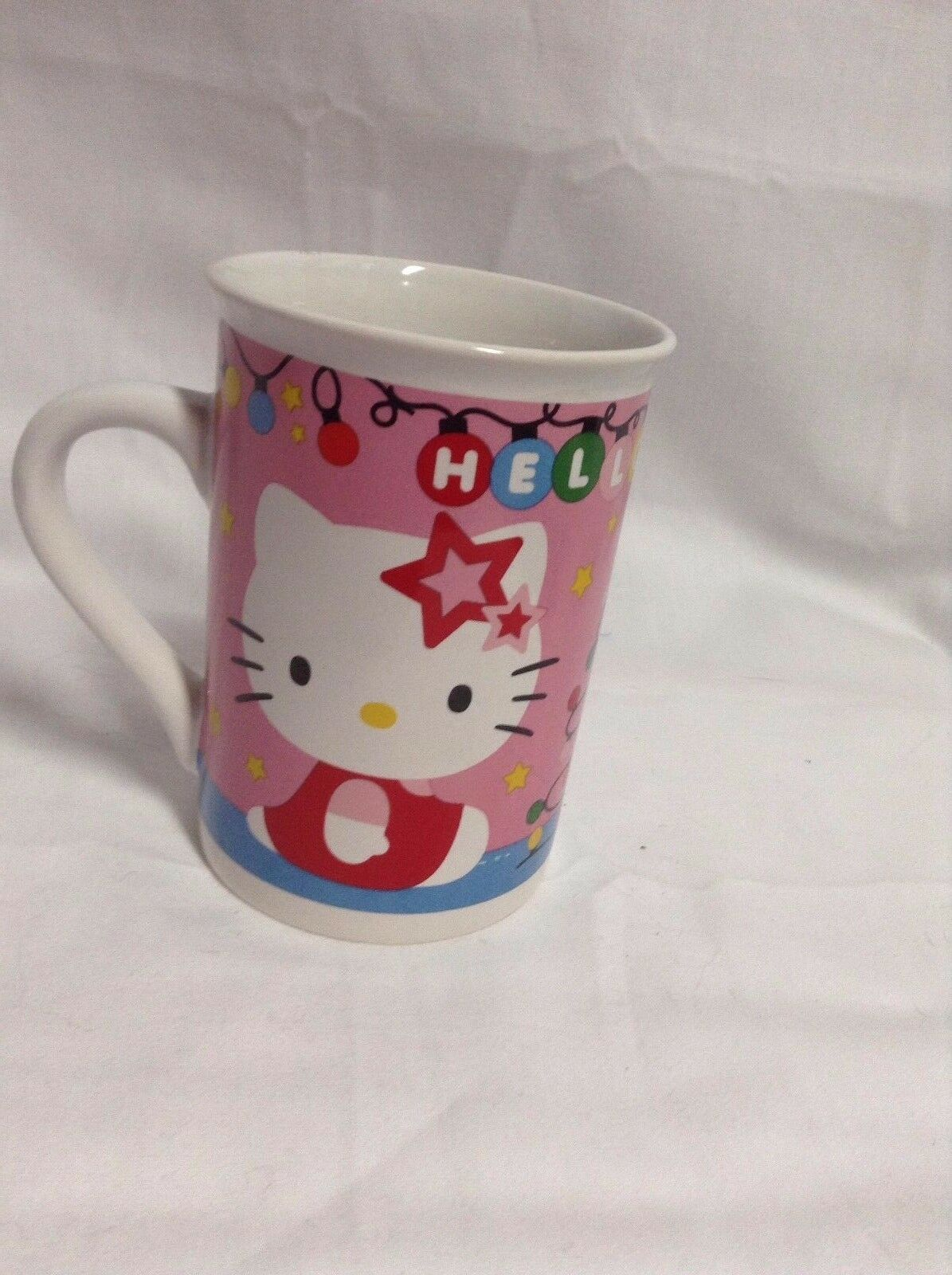 "Primary image for 2014 Sanrio Hello Kitty Coffee Mug Cup 4"" tall x 3"" diam CUTE"