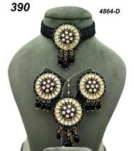 Indian Ethnic Kundan Gold Plated Pendant Necklace Earring tika Jewelry S... - $30.68