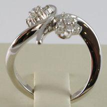 WHITE GOLD RING 750 18K, DOUBLE FLOWER ROSETTA WITH DIAMONDS CRISS CROSSED image 3