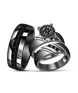 Brillant Black Diamond Black Gold Over 925 Silver His Her Wedding Trio R... - $159.99