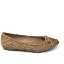 Born Womens Size 5 Snake Embossed Carri Flats Pointed Toe Cork Brown Shoes - $30.84