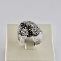 925 Silver Ring with Flower Zircon Cubic White & Black image 1