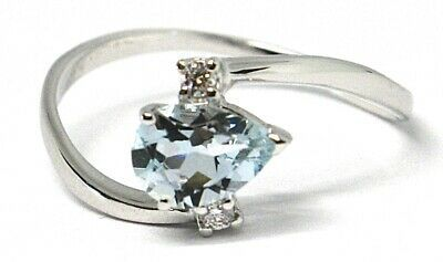 18K WHITE GOLD BAND RING AQUAMARINE 0.60 DROP CUT & DIAMONDS, MADE IN ITALY