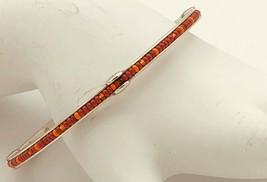 BRIGHTON bangle BRACELET etched & red & orange INLAID beads set in SILVE... - $24.99