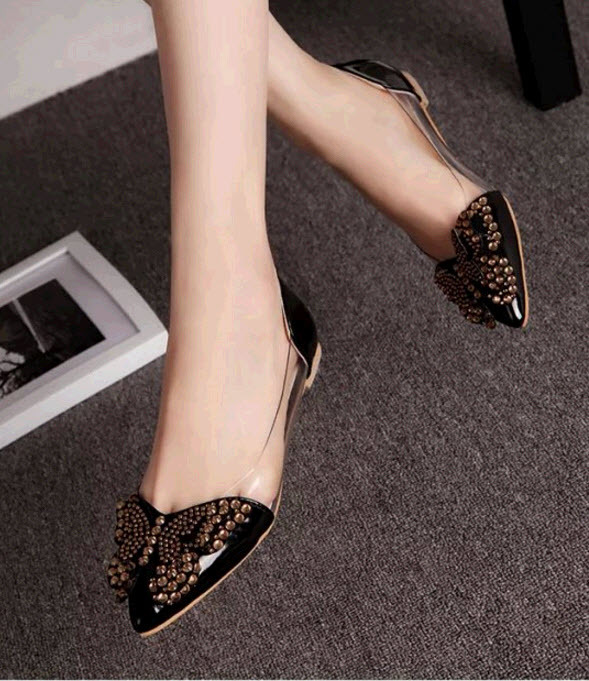 Primary image for pp447Cutie sequined butterfly pumps, size 4-8.5, black