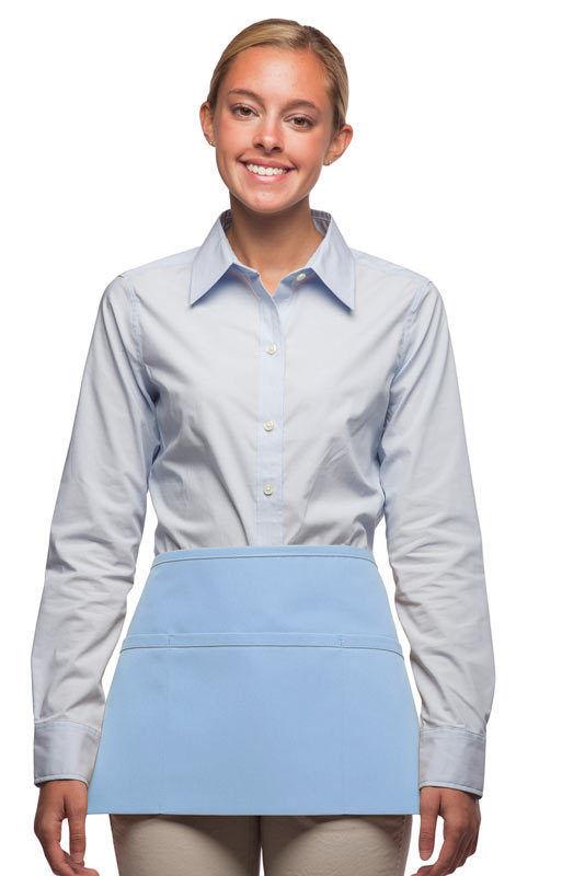 3 Pocket Waist Apron Light Blue Waiter Waitress Bar Staff Craft USA Made New