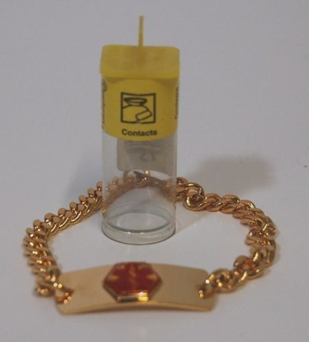 Apothecary Products 91207 Gold Color Contacts Medical Alert Bracelet
