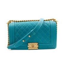 Chanel Medium Teal Turquoise Quilted Caviar Calf Skin Gold Tone Boy Bag ... - $4,900.00