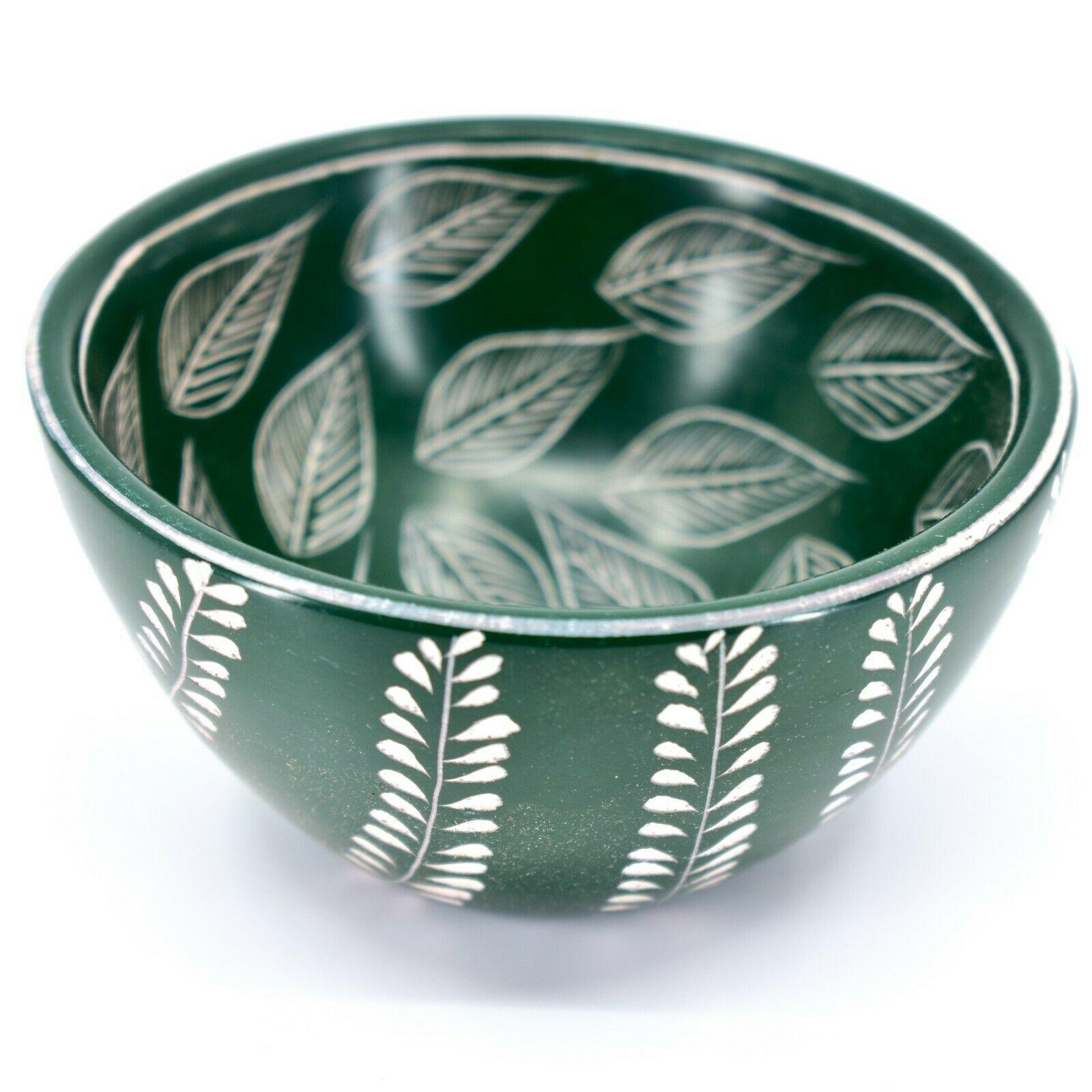 Tabaka Chigware Handmade Soapstone Green Foliage Leaf Design Trinket Bowl Kenya