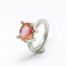 Wonderful sterling silver ring with an extraordinary 2.46 carats Orange/... - $176.00