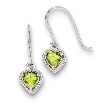 Primary image for Lex & Lu Sterling Silver Peridot Small Heart Earrings