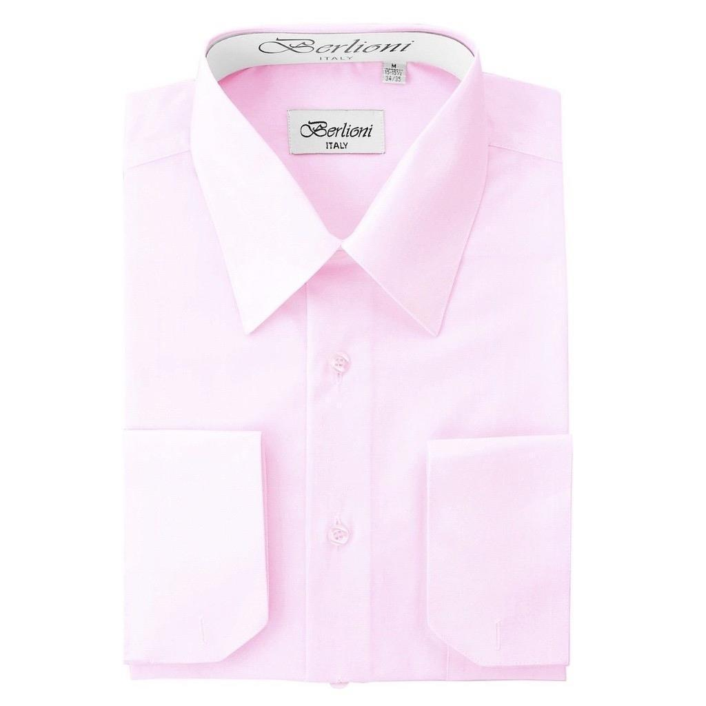BERLIONI ITALY MEN'S PREMIUM FRENCH CONVERTIBLE CUFF SOLID DRESS SHIRT PINK