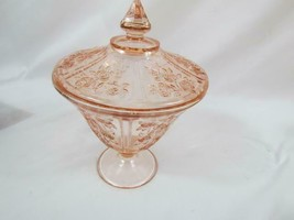 Vintage Fostoria Pink Pressed Pedestal Candy Dish With Lid 1926-1933 Com... - $36.09