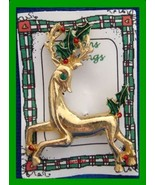 Christmas PIN #0354 Gerrys Buck Reindeer Goldtone Pin w/Green Holly~runn... - $24.70