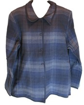 Denim and Company Size Large Blue Plaid Flannel Jacket - $39.59