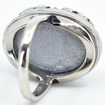 Vintage Inspired Silver & Black Color Changing Statement Oval Cabochon Mood Ring image 3