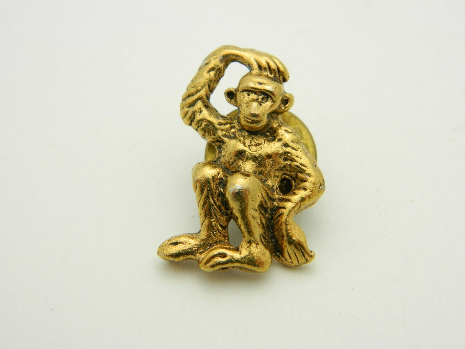 Monkey Scratching His Head Pondering Gold Tone Tie Tack Vintage image 1